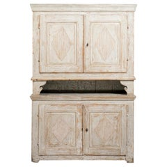 Swedish Gustavian Late 18th Century Painted Cupboard with Reeded Diamond Motifs