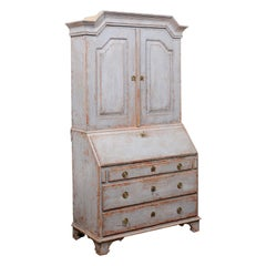 Swedish Gustavian Late 18th Century Tall Painted Secretary with Slanted Desk