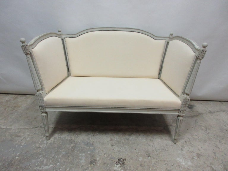 Swedish Gustavian Loveseat Sofa In Distressed Condition For Sale In Hollywood, FL