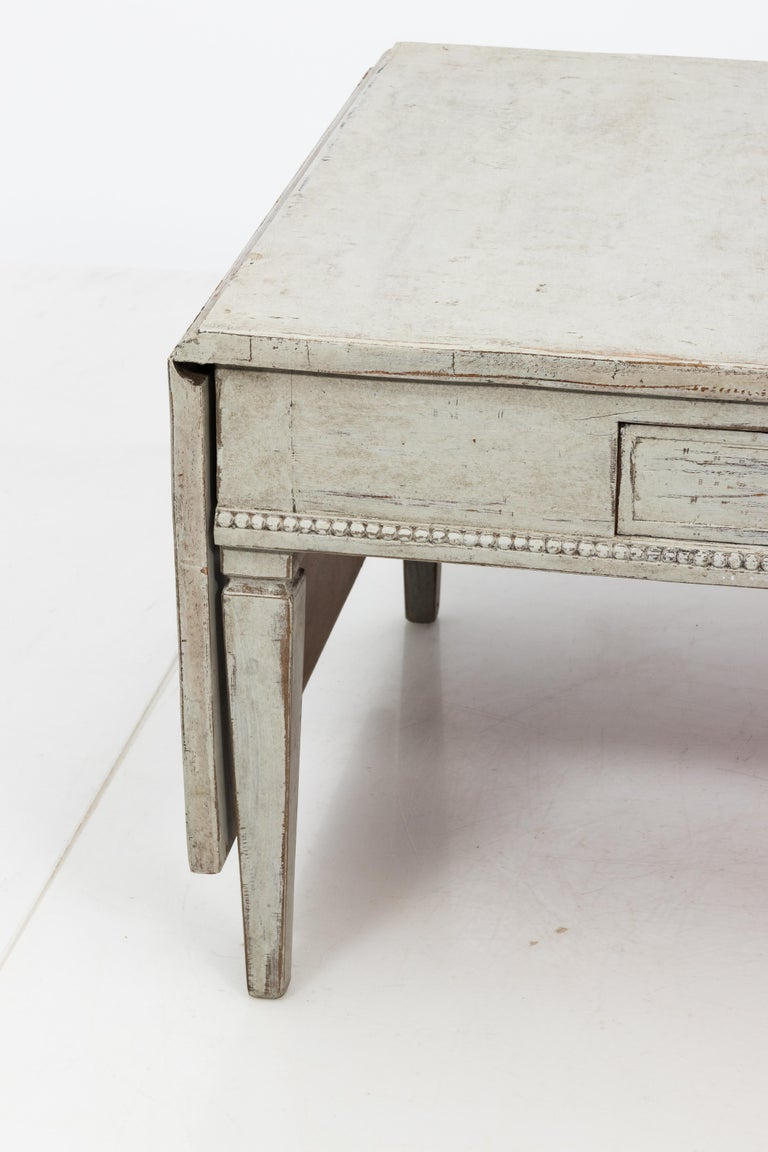 Brass Antique White 19th Century Swedish Country Low Table For Sale