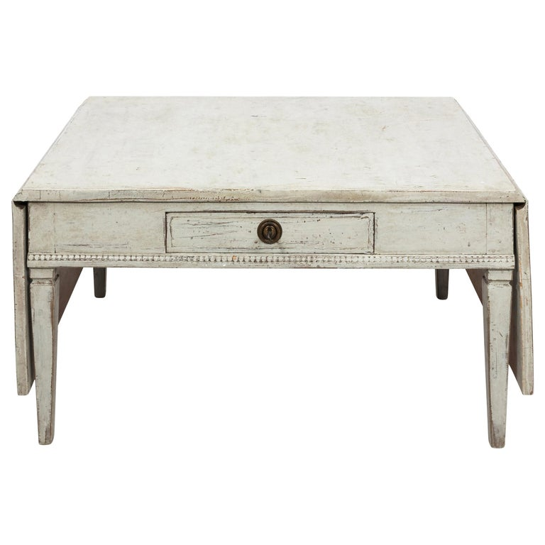 Antique White 19th Century Swedish Country Low Table For Sale