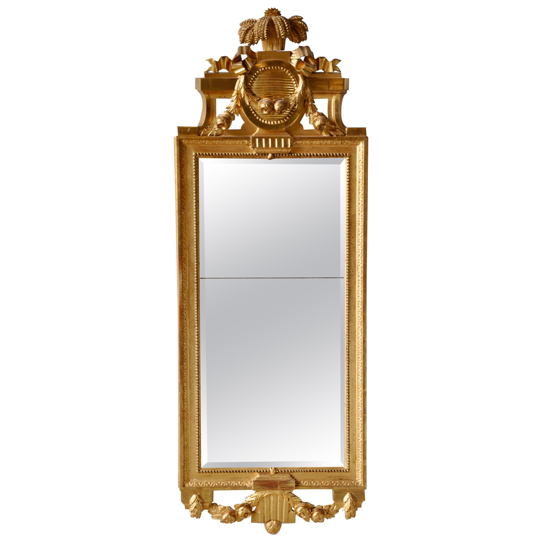 Swedish Gustavian Mirror, Signed Stockholm Hallmark, 1700s