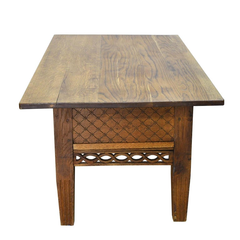 Carved Swedish Gustavian Oak Table with Pierced Fret Work on Apron, circa 1810 For Sale