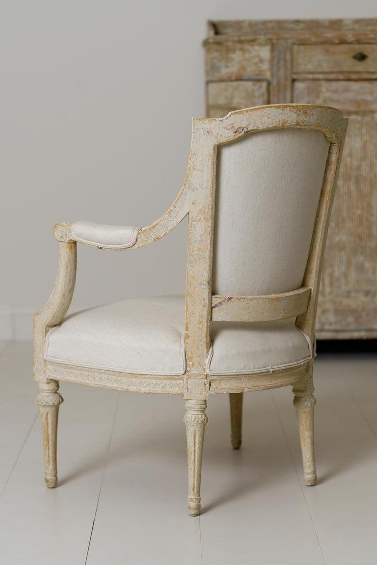 Swedish Gustavian Original Paint Armchair by Johan Erik Höglander For Sale 4