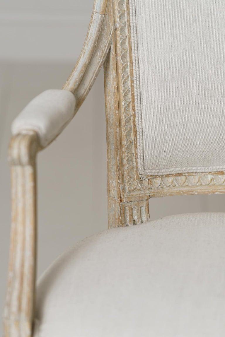 Hand-Carved Swedish Gustavian Original Paint Armchair by Johan Erik Höglander For Sale