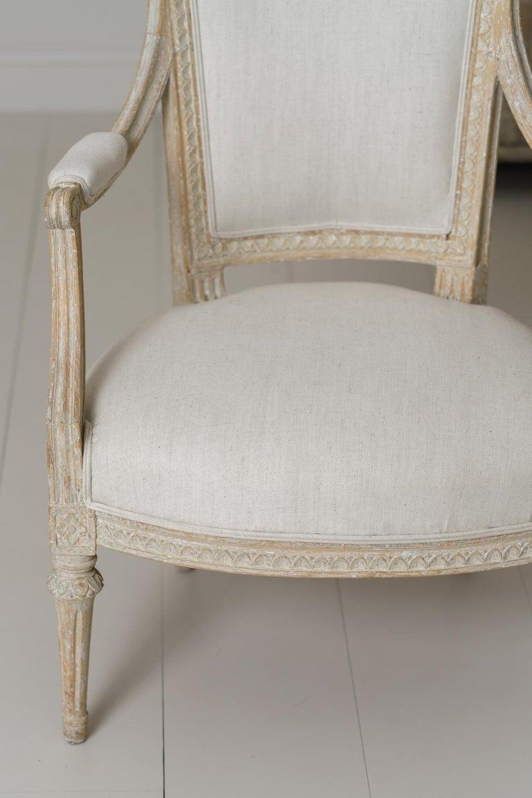 18th Century and Earlier Swedish Gustavian Original Paint Armchair by Johan Erik Höglander For Sale