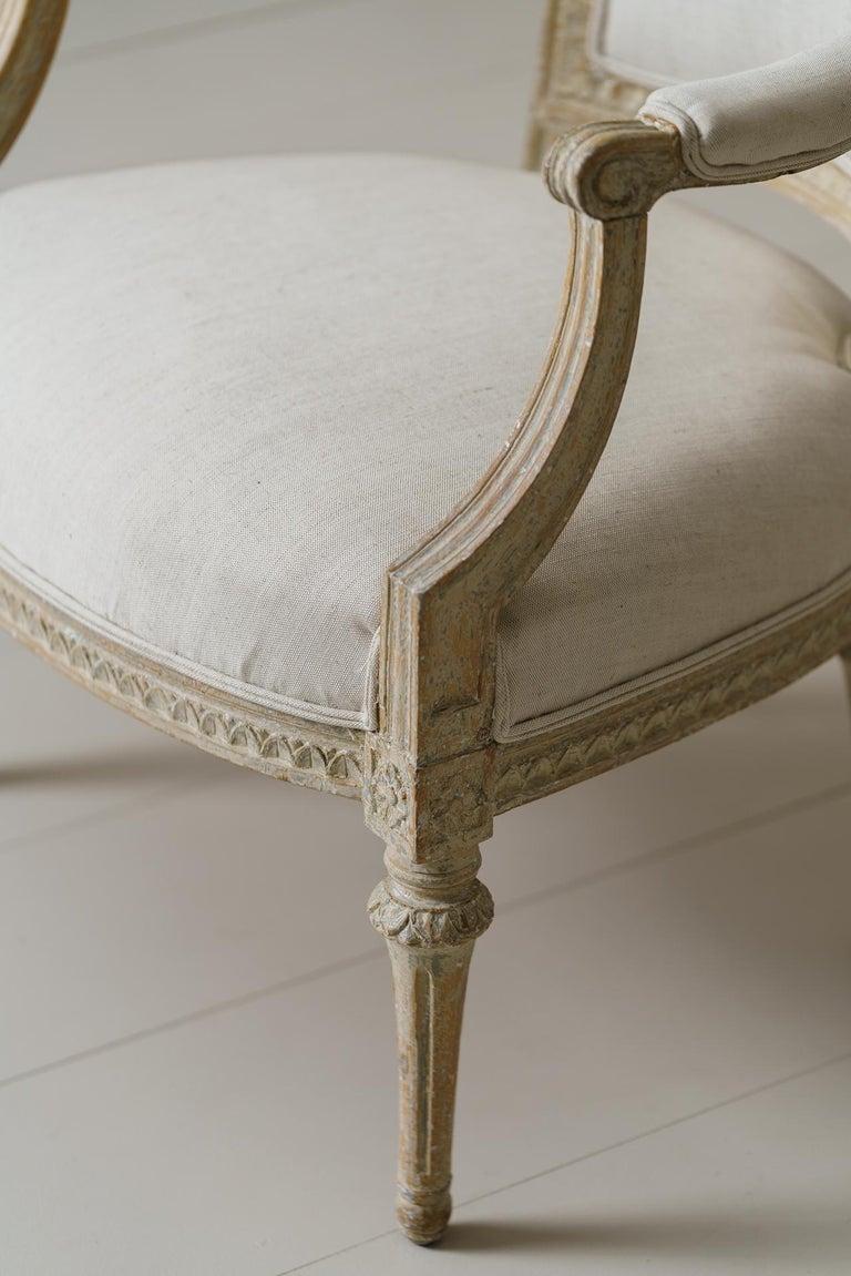 Linen Swedish Gustavian Original Paint Armchair by Johan Erik Höglander For Sale
