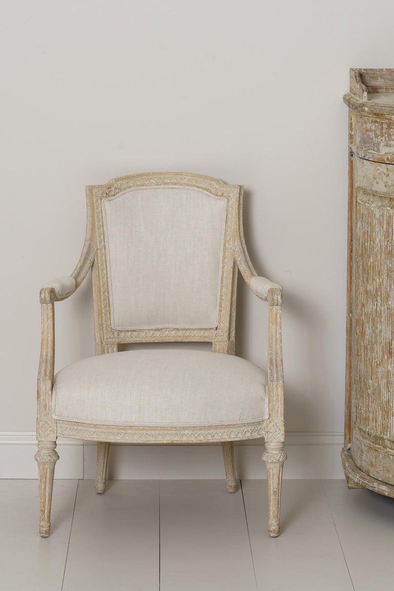 Swedish Gustavian Original Paint Armchair by Johan Erik Höglander For Sale 2