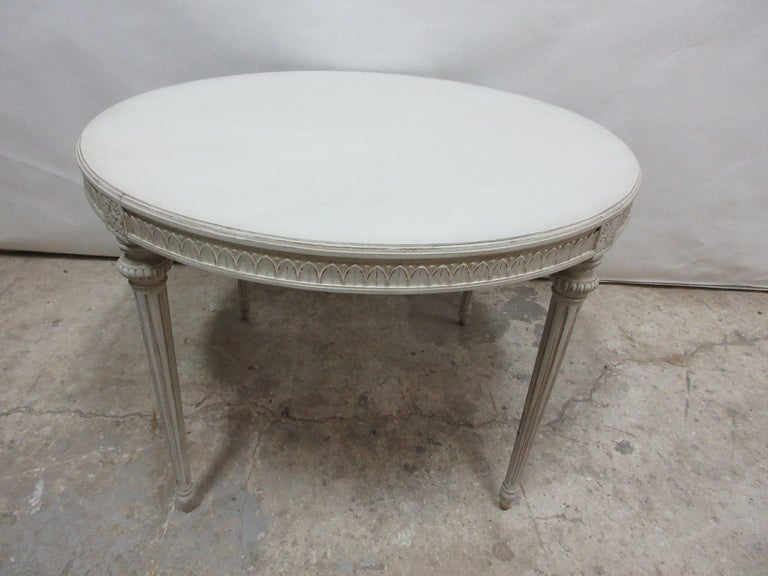 This is a Swedish Gustavian oval table, it has been restored and repainted with milk paints
