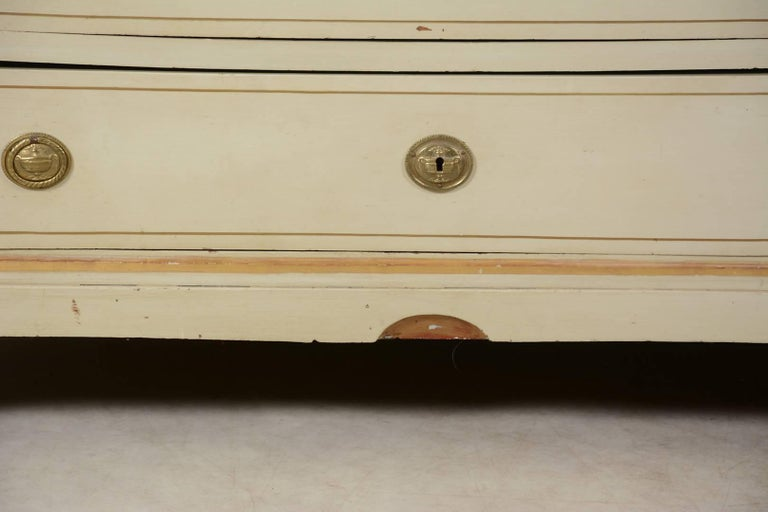 Hand-Painted Swedish Gustavian Painted Chest of Drawers Commode Tallboy, 19th Century For Sale