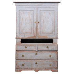 Swedish Gustavian Period 18th Century Painted Cabinet with Doors and Drawers