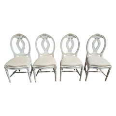 Swedish Gustavian Roseback Dining Chairs Set of 4 White Paint Mid-20th Century