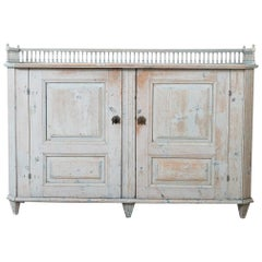 Swedish Gustavian Sideboard with a Balustrade and Original Paint