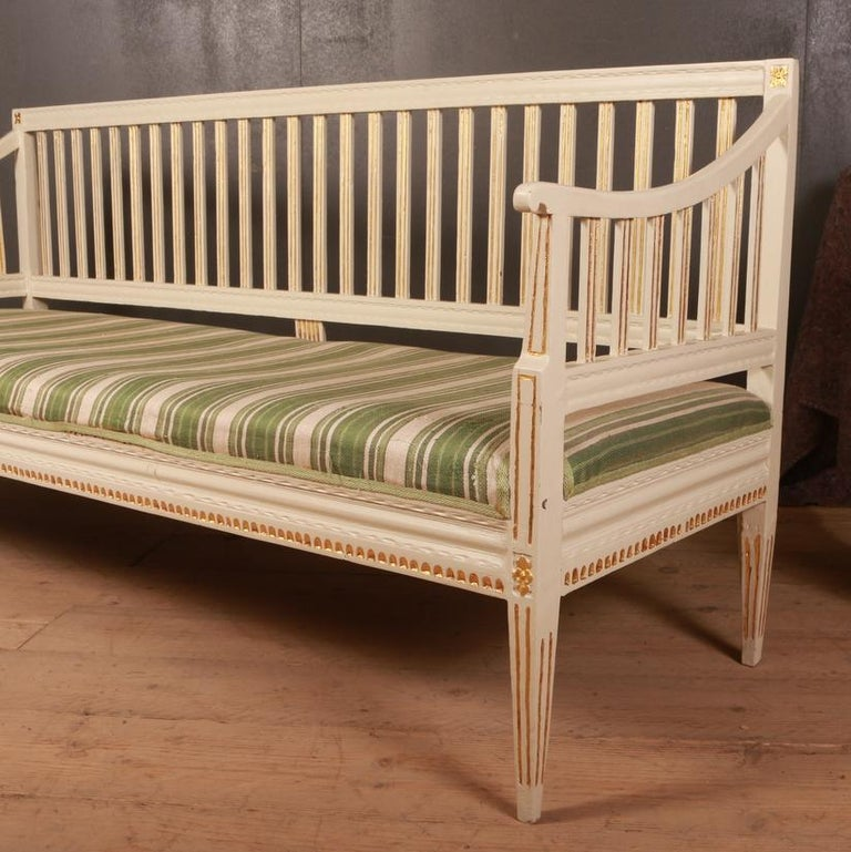 Painted Swedish Gustavian Sofa For Sale