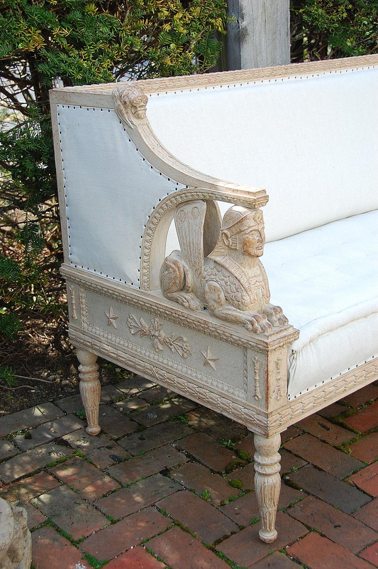 Swedish Gustavian Sofa Mid-19th Century, Carved Sphinx and Lion Motifs In Good Condition For Sale In Wells, ME