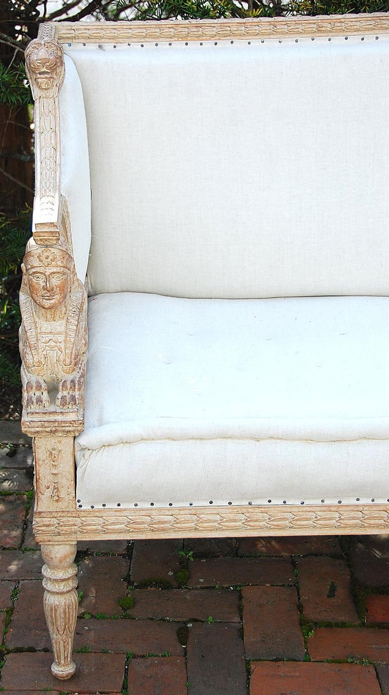 Beech Swedish Gustavian Sofa Mid-19th Century, Carved Sphinx and Lion Motifs For Sale