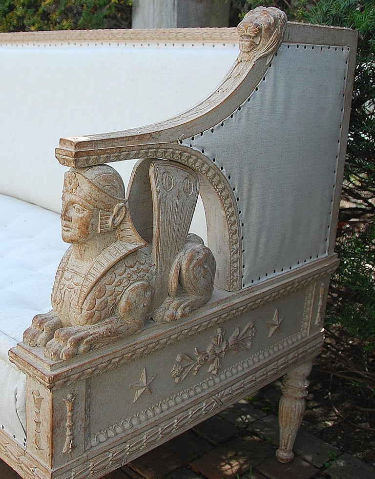 Swedish Gustavian Sofa Mid-19th Century, Carved Sphinx and Lion Motifs For Sale 1