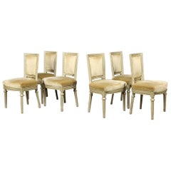 Swedish Gustavian Square Back Dining Chairs Grey Green Set of Six, 20th Century