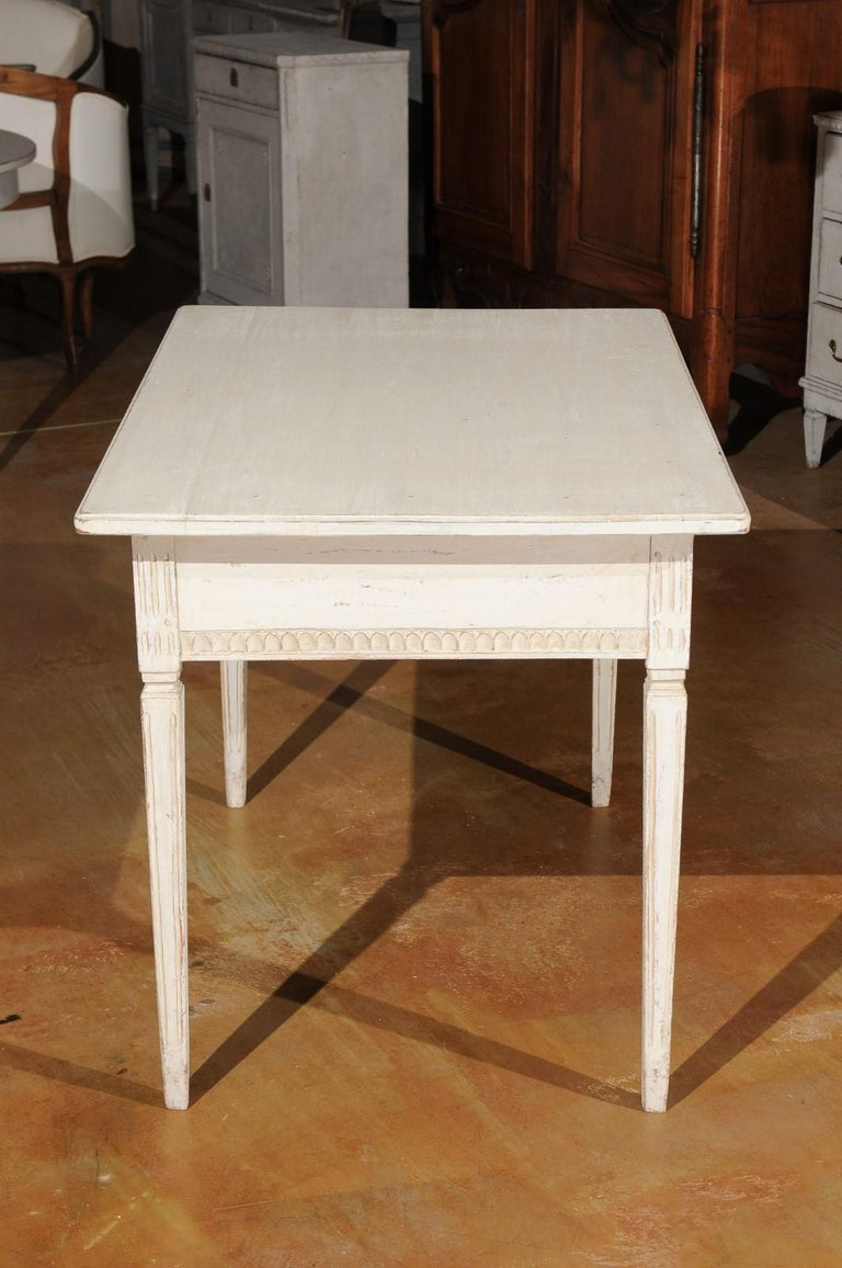 Swedish Gustavian Style 1850s Painted Desk with Two Drawers and Reeded Motifs 5