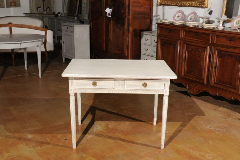 Swedish Gustavian Style 1850s Painted Desk with Two Drawers and Reeded Motifs 6