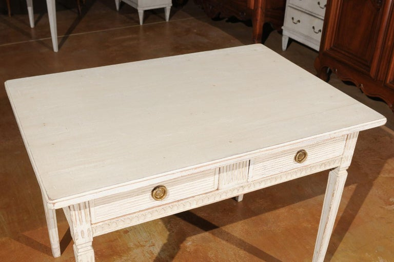19th Century Swedish Gustavian Style 1850s Painted Desk with Two Drawers and Reeded Motifs
