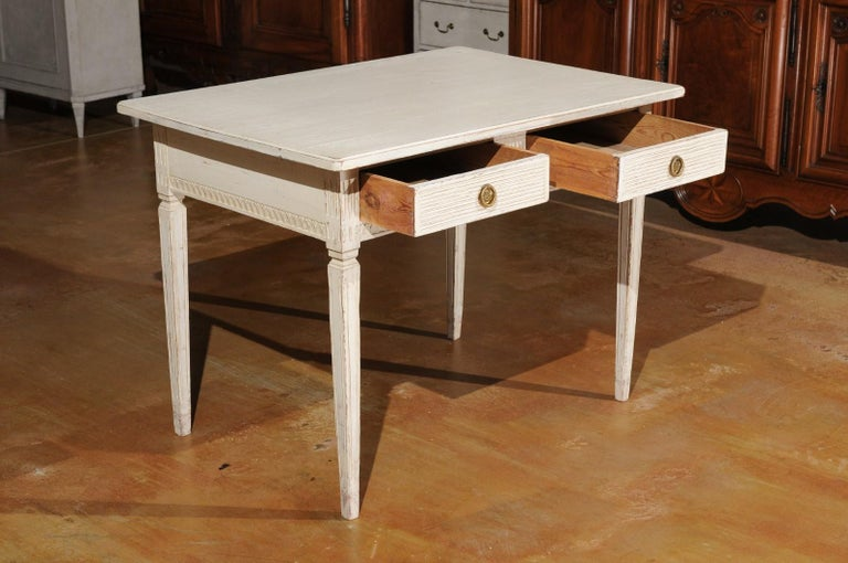 Wood Swedish Gustavian Style 1850s Painted Desk with Two Drawers and Reeded Motifs