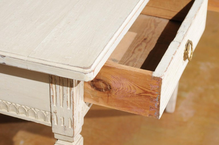 Swedish Gustavian Style 1850s Painted Desk with Two Drawers and Reeded Motifs 1