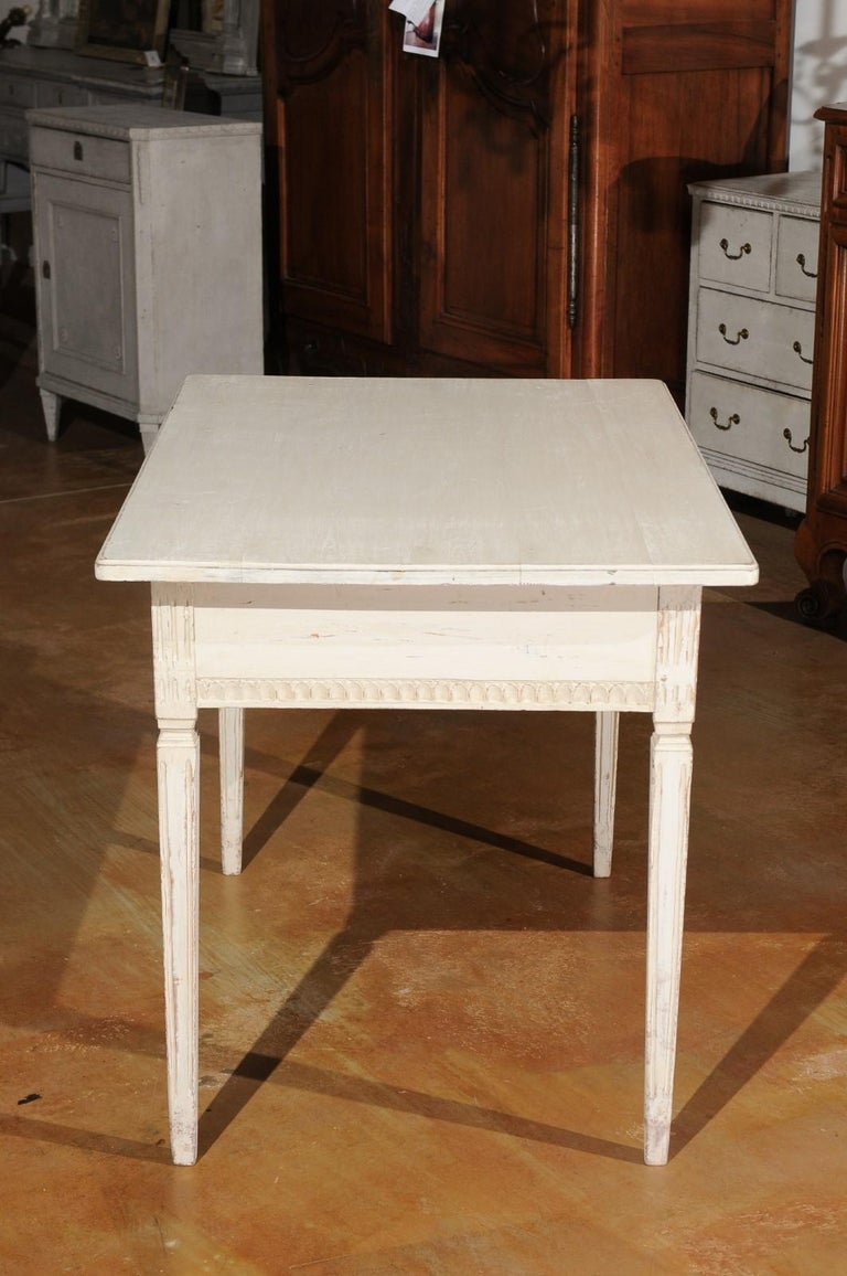 Swedish Gustavian Style 1850s Painted Desk with Two Drawers and Reeded Motifs 2