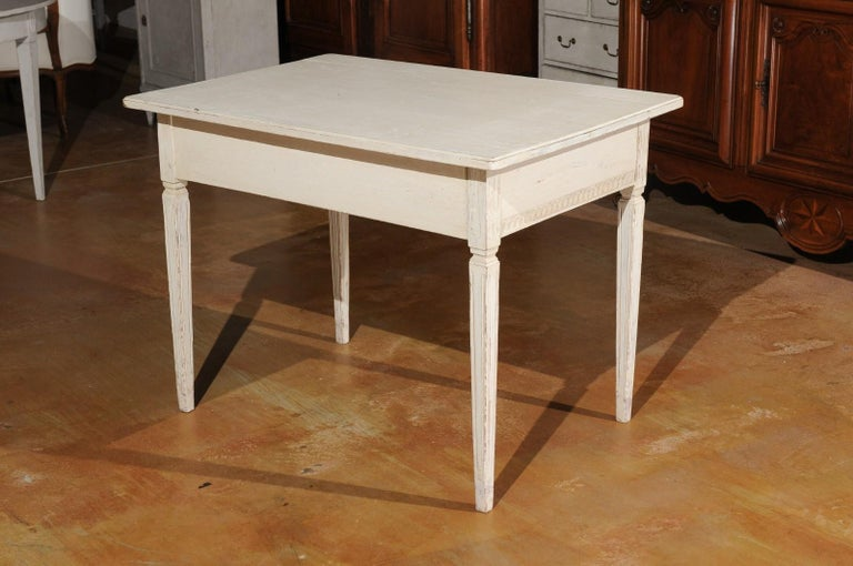 Swedish Gustavian Style 1850s Painted Desk with Two Drawers and Reeded Motifs 3