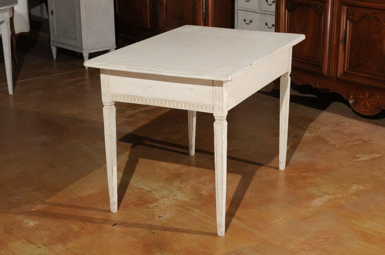 Swedish Gustavian Style 1850s Painted Desk with Two Drawers and Reeded Motifs 4