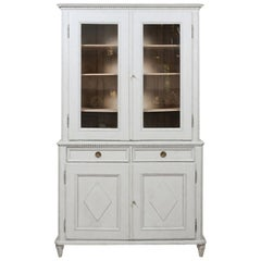 Swedish Gustavian Style 19th Century Painted Cabinet with Glass Doors