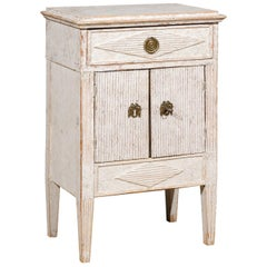 Swedish Gustavian Style 19th Century Painted Cabinet with Reeded Diamond Motifs