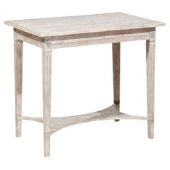 Swedish Gustavian Style 19th Century Painted Console Table with Carved Rosettes