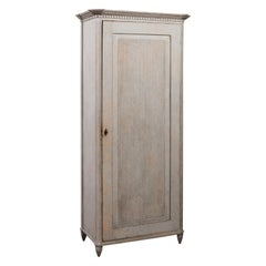 Swedish Gustavian Style 19th Century Painted Linen Press with Reeded Single Door
