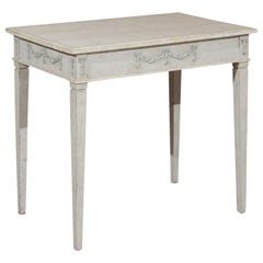 Swedish Gustavian Style 19th Century Painted Table with Carved Campanula Swags