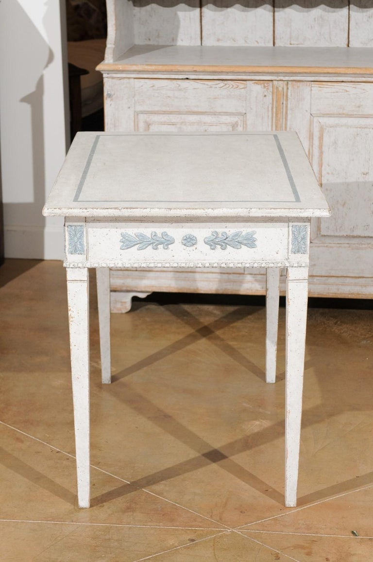 Swedish Gustavian Style 20th Century Painted Desk with Drawers and Foliage Decor 6