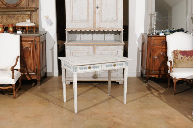 Swedish Gustavian Style 20th Century Painted Desk with Drawers and Foliage Decor In Good Condition In Atlanta, GA