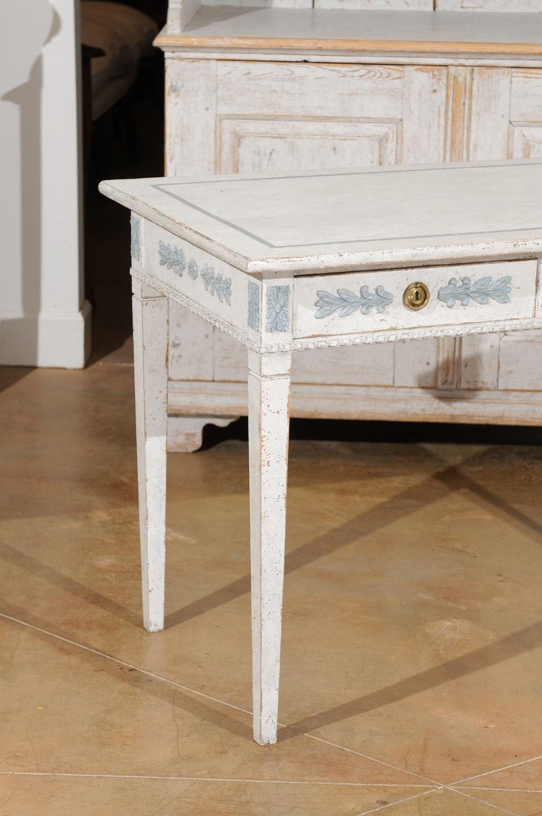 Wood Swedish Gustavian Style 20th Century Painted Desk with Drawers and Foliage Decor