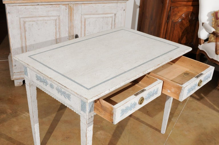Swedish Gustavian Style 20th Century Painted Desk with Drawers and Foliage Decor 1