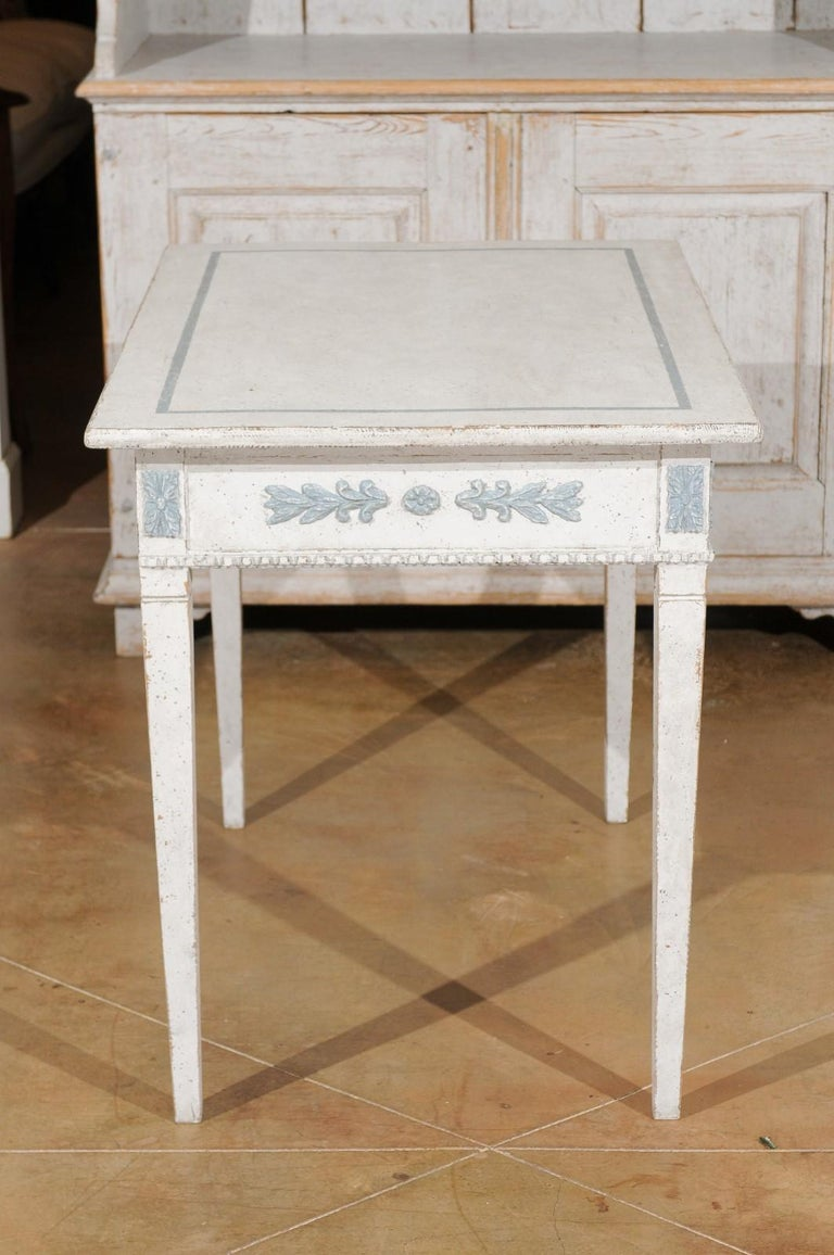 Swedish Gustavian Style 20th Century Painted Desk with Drawers and Foliage Decor 2