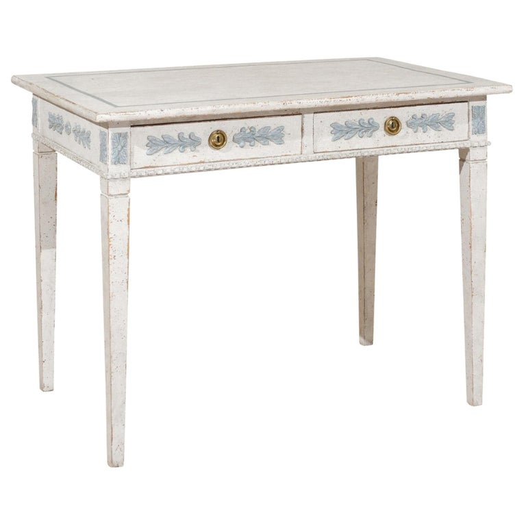 Swedish Gustavian Style 20th Century Painted Desk with Drawers and Foliage Decor