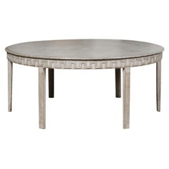 Swedish Gustavian Style 20th Century Painted Dining Table with Meander Frieze