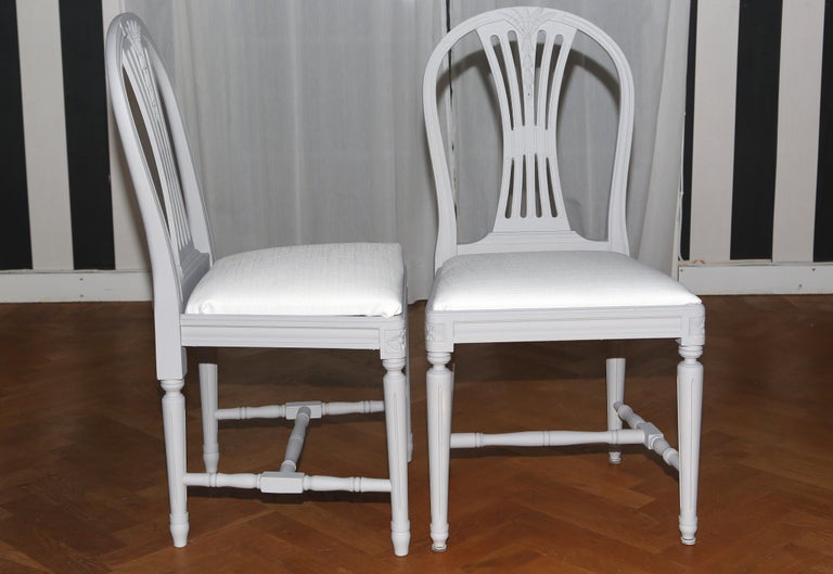 d32e0a7e17fae Set of 12 antique Swedish Gustavian light grey painted dining chairs.  Beautiful Gustavian chairs with
