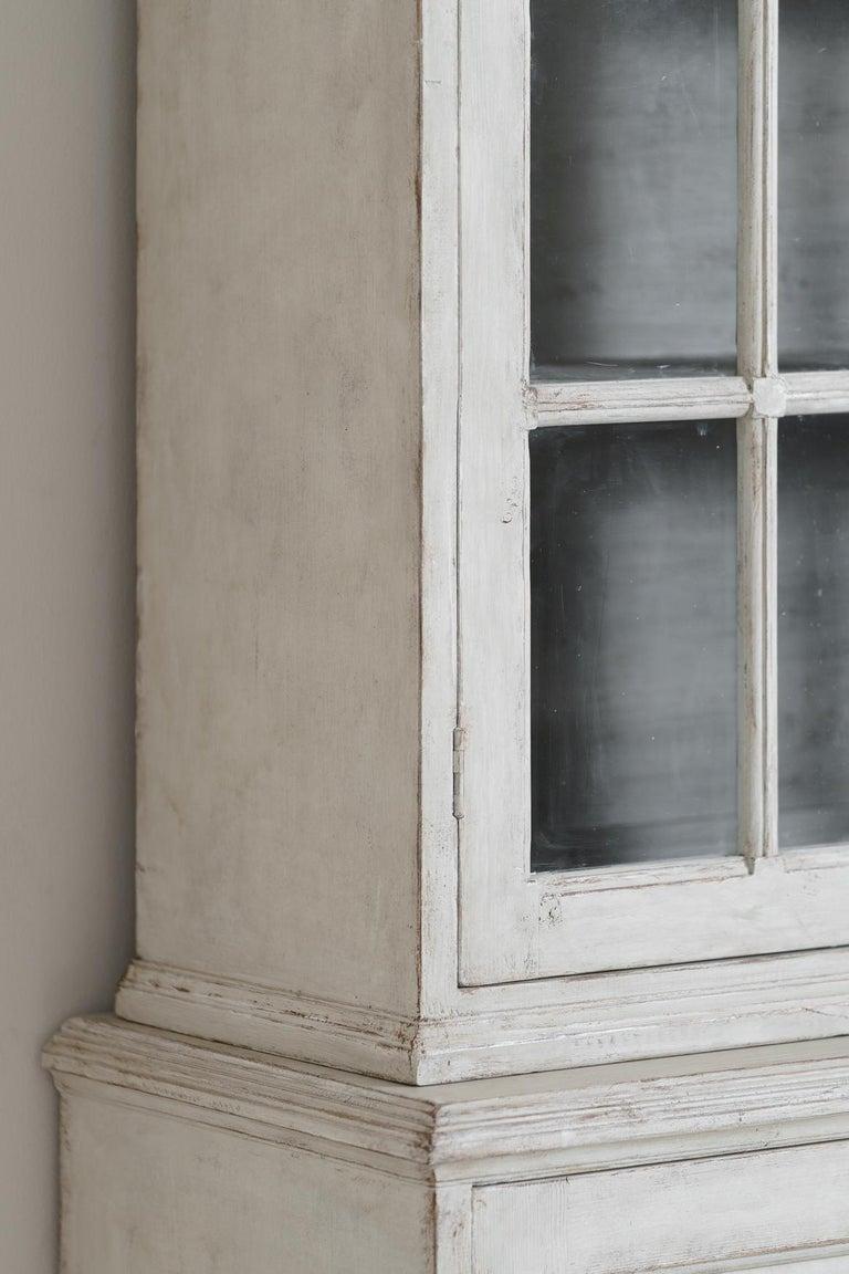 Swedish Gustavian Style Four-Door Glass Vitrine Bookcase Cabinet For Sale 4