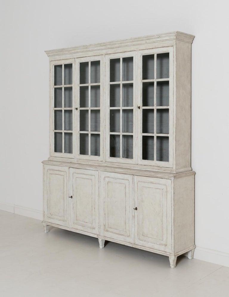 Swedish Gustavian Style Four-Door Glass Vitrine Bookcase Cabinet For Sale 6