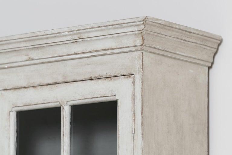 Swedish Gustavian Style Four-Door Glass Vitrine Bookcase Cabinet For Sale 7