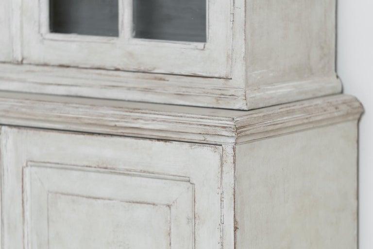 Swedish Gustavian Style Four-Door Glass Vitrine Bookcase Cabinet For Sale 8