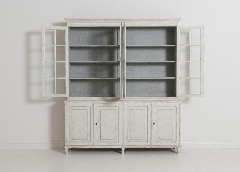 Swedish Gustavian Style Four-Door Glass Vitrine Bookcase Cabinet For Sale 9