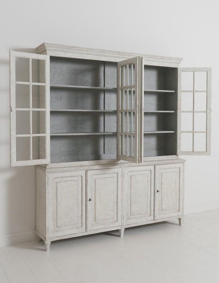 Swedish Gustavian Style Four-Door Glass Vitrine Bookcase Cabinet For Sale 10
