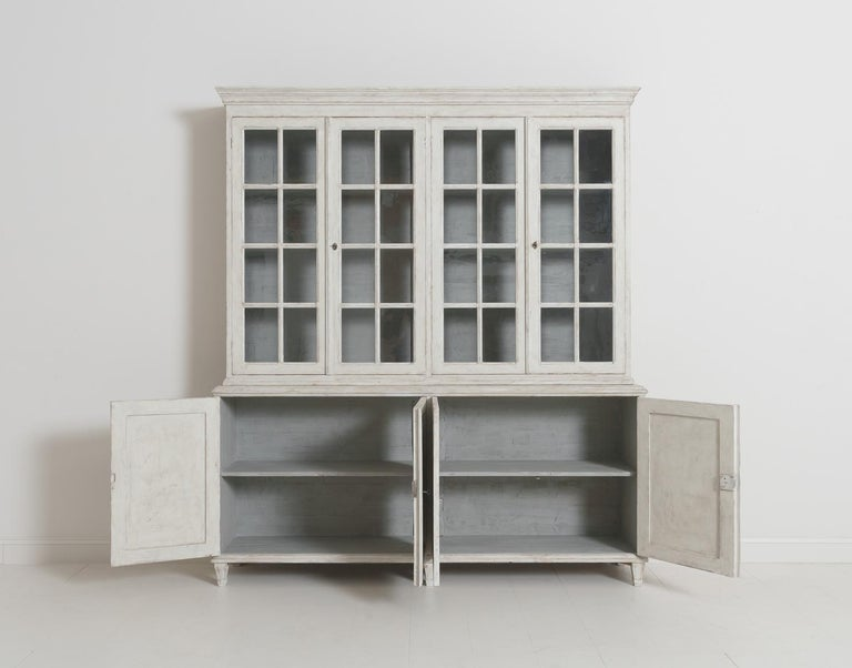 Swedish Gustavian Style Four-Door Glass Vitrine Bookcase Cabinet For Sale 11
